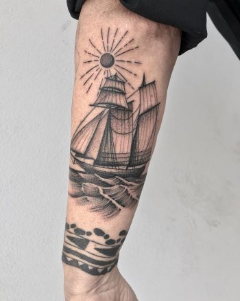 Schooner tattoo by @justinoliviertattoo