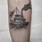 Steamboat tattoo by @justinoliviertattoo