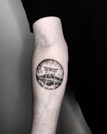 Torii Gate tattoo by @inksil