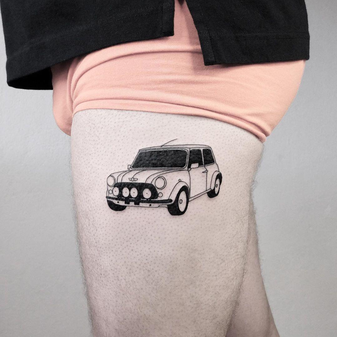 Mini Cooper tattoo by @mateutsa