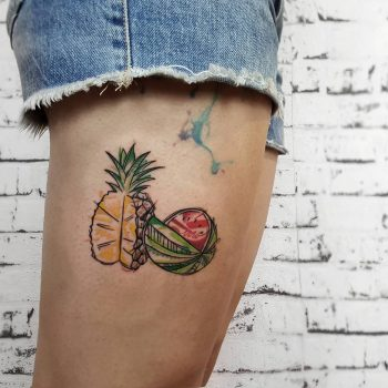 Pineapple and watermellon by @isaarttattoo