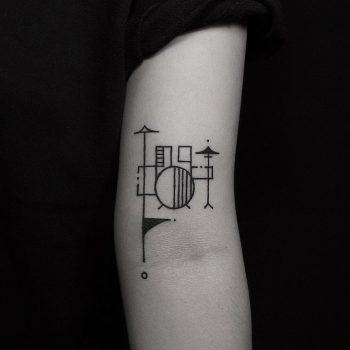 Drum kit tattoo by tattooist Hen