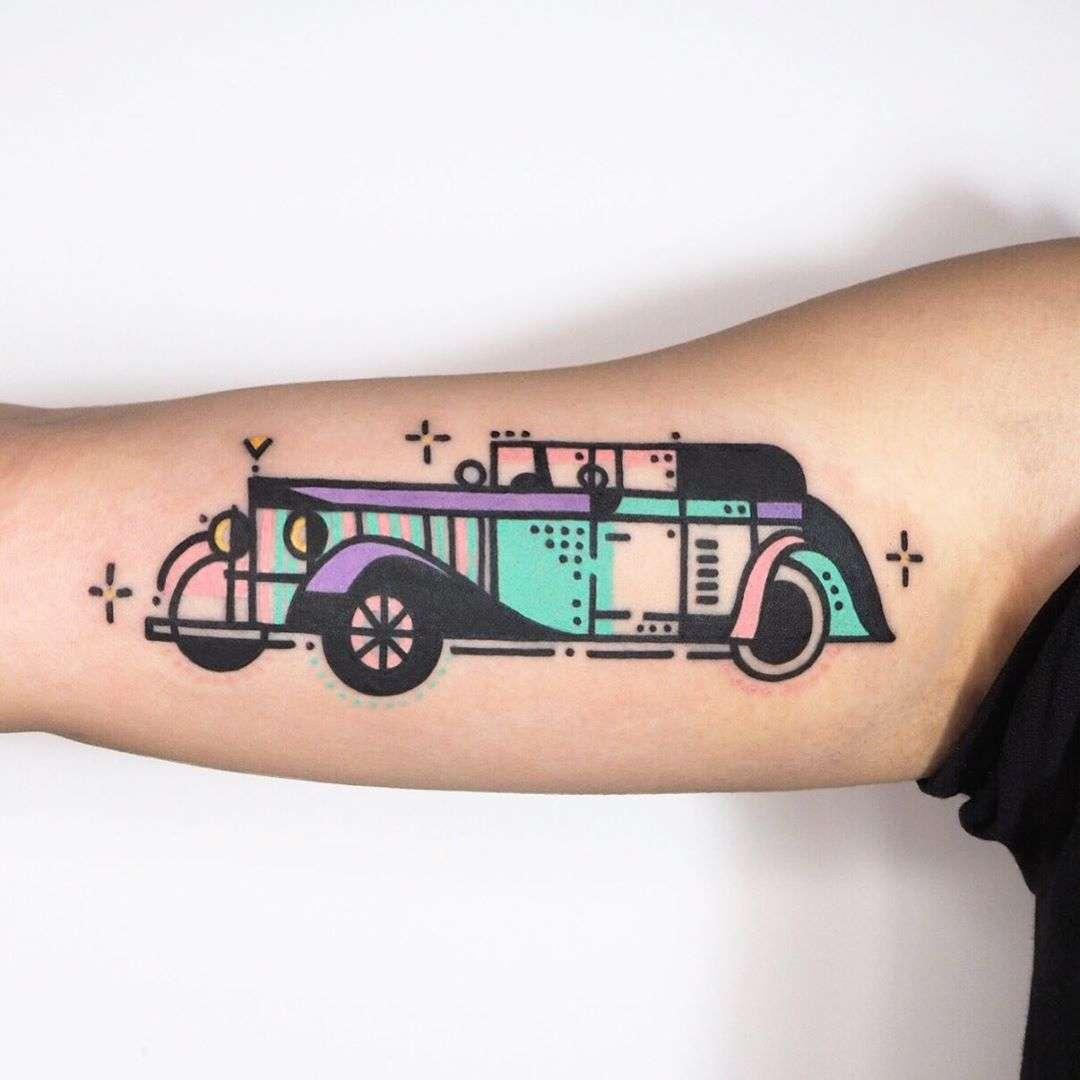 Old car tattoo by tattooist Hen