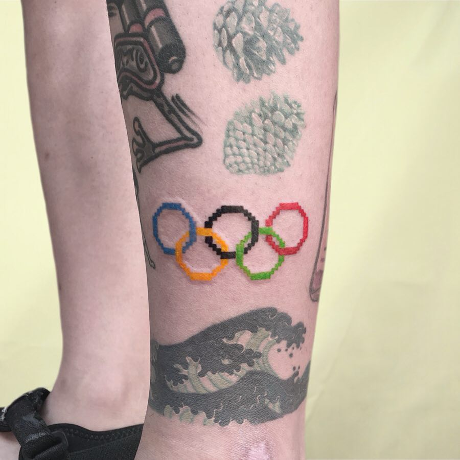 Olympic rings tattoo by @88world.co.kr