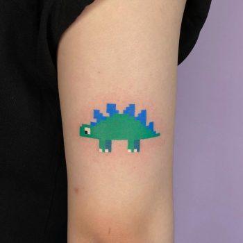 Pixel dinosaur tattoo by @88world.co.kr