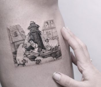 Belle at fountain tattoo by Edit Paints Tattoo