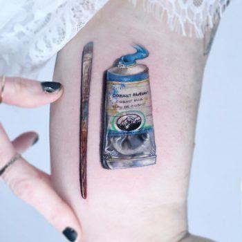 Cobalt blue tattoo by Edit Paints Tattoo