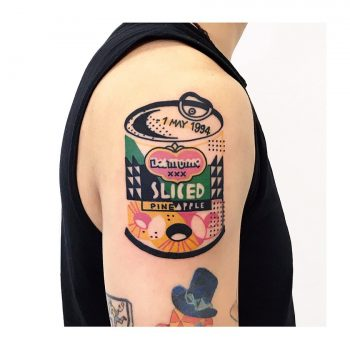 Sliced canned pineapple tattoo by tattooist Hen