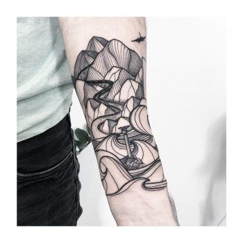Landscape on a forearm by @vlada.2wnt2
