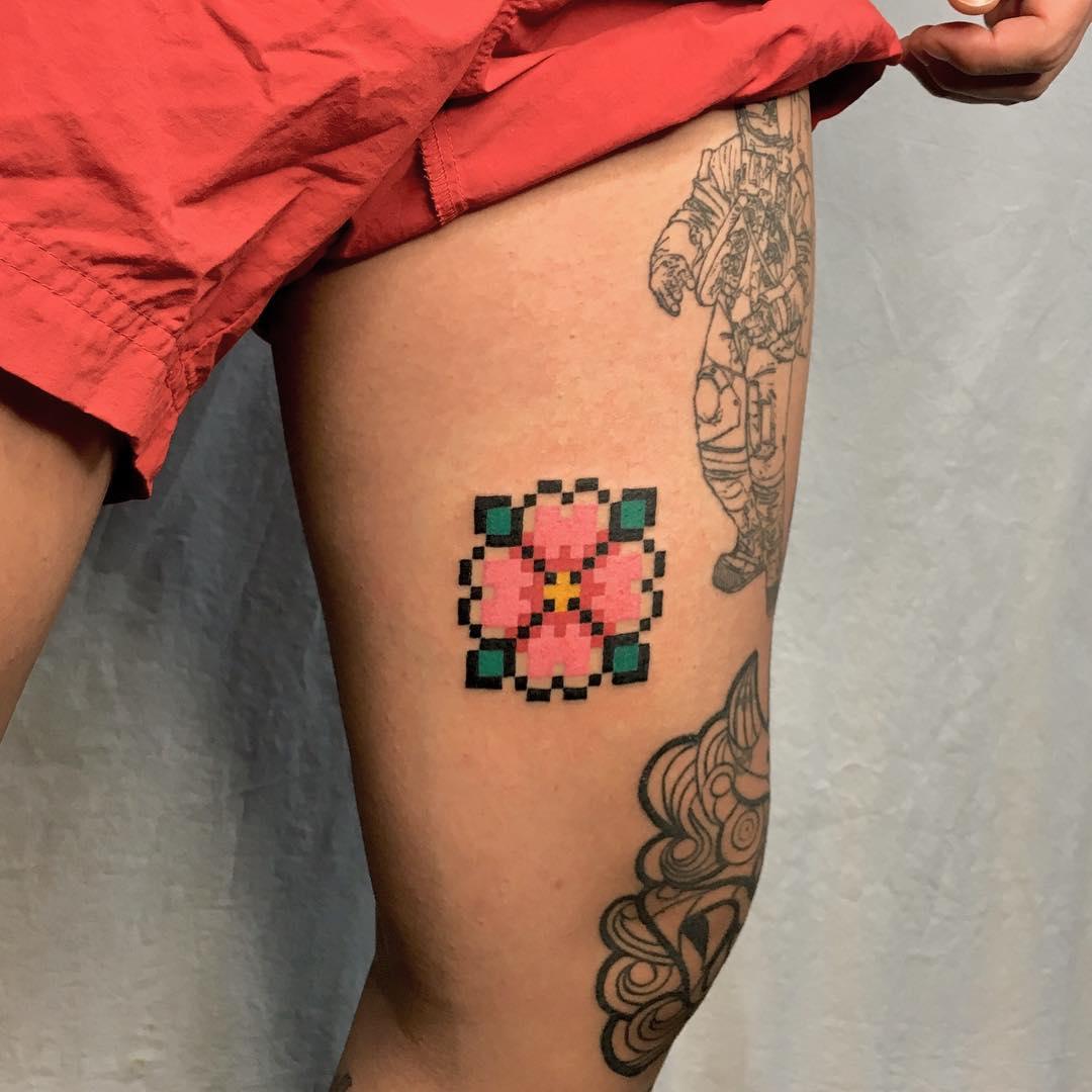 Pixel Flower Tattoo by @88world.co.kr