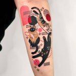 Three cats tattoo by tattooist Hen