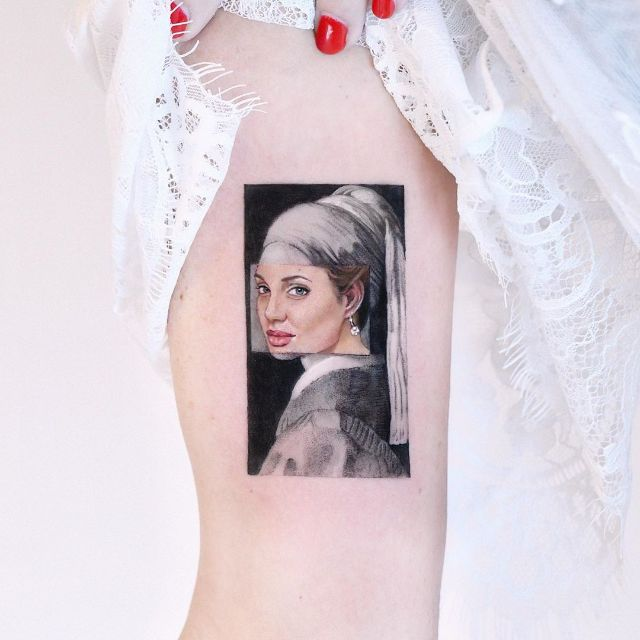 Jolie With Pearl Earring by Edit Paints Tattoo