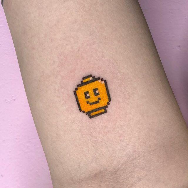 LEGO Head Tattoo by @88world.co.kr