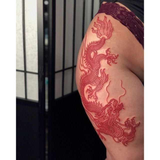 Red Hip Dragon by tattooist Arang Eleven