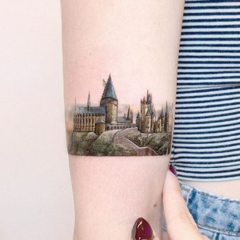 TIny Hogwarts Castle by Edit Paints Tattoo