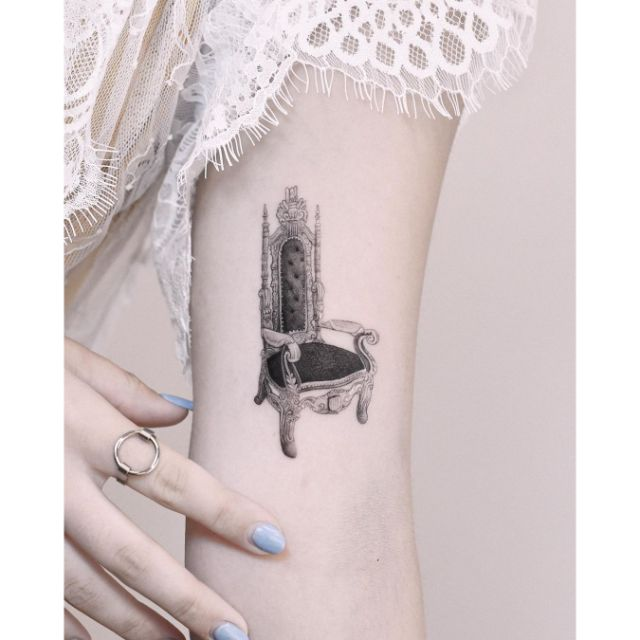 Tiny Royal Chair Tattoo by Edit Paints Tattoo