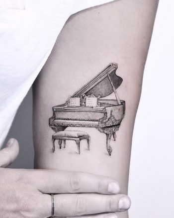 Small Grand Piano by Edit Paints Tattoo
