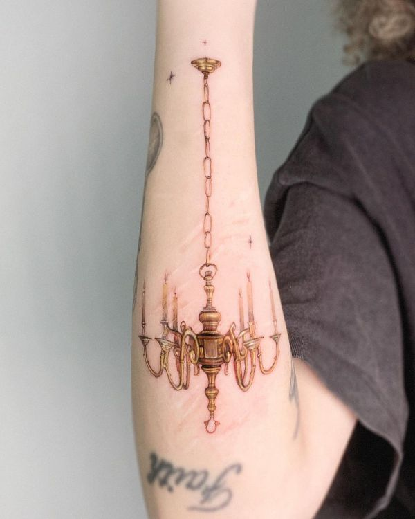 Chandelier on Scars by Edit Paints Tattoo
