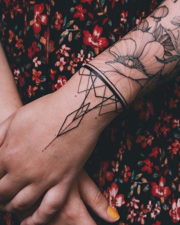 Geometric Bracelet Tattoo by @vlada.2wnt2