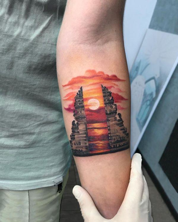 Sunset in Bali Tattoo by tattooist Anna Zelenska