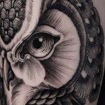 Owl Head Tattoo by tattooist Arang Eleven
